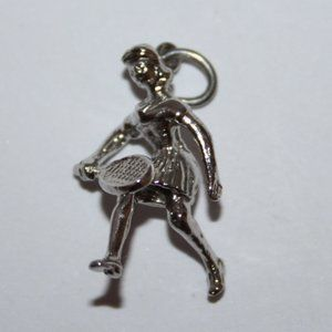 Vintage silver tennis player girl charm